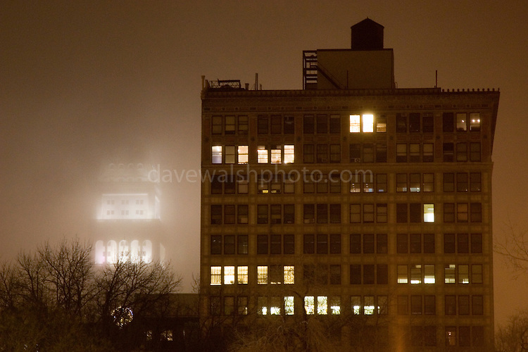 Union Square, Manhattan, New York City, in fog
