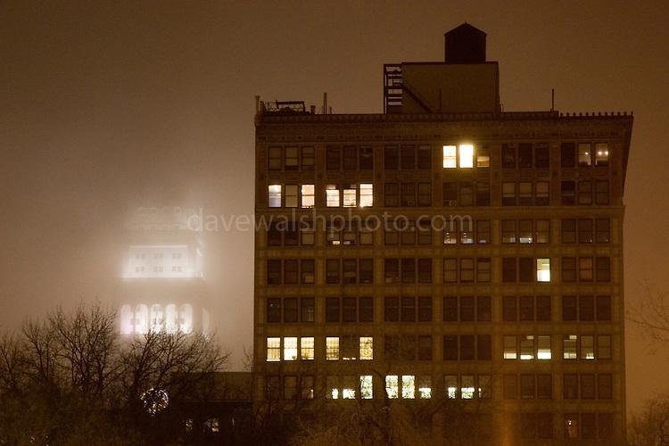 Union Square, Manhattan, New York City, in fog