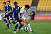 Japan&rsquo;s Moeno Sakaguchi and Ferns&rsquo; Sarah Gregorius in action during the  International Football - Football Ferns v Japan  at Westpac Stadium, Wellington, New Zealand on Sunday 10 June 2018.<br /> Photo by Masanori Udagawa. <br /> www.photowellington.photoshelter.com