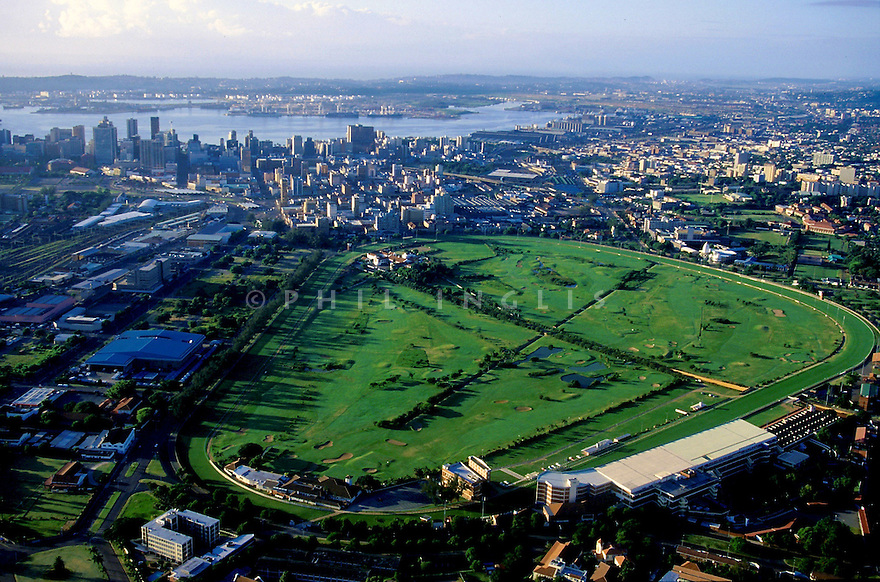 An aerial view of Royal Durban Golf Club, Durban, Kwazulu Natal, South Africa. A unique course of a links design layout within Greyville Racecourse. Picture Credit / Phil Inglis