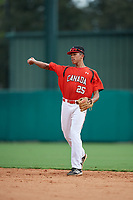 Canadian Junior National Team Cesar Valero (25) throws to first base during a Florida Instructional League game against the Atlanta Braves on October 9, 2018 at the ESPN Wide World of Sports Complex in Orlando, Florida.  (Mike Janes/Four Seam Images)
