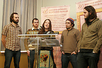 Les Cowboy Fringants<br /> conference de presse sur la prevention du suicide<br /> photo : Delphine Descamps - Images Distribution