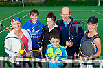 Sheila O'Sullivan (Tralee) Michael Kerins (Tralee), Beth Coffey (Killarney) Danny Brick and Michael Brick (Causeway) with Triona Costello (Tralee), pictured at the Tralee Tennis Charity Marathon in Tralee Tennis Club on Saturday last.