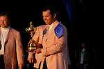 Paul Casey part of the victorious European Team holds the Ryder Cup during the closing ceremony of the 2006 Ryder Cup at The K Club..Photo: Eoin Clarke/Newsfile.