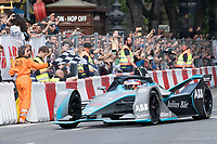 Mahindra Racing's Belgian driver Jerome D'Ambrosio performs with his Formula E car during the Great Run sports car show held in downtown Budapest, Hungary on May 1, 2019. ATTILA VOLGYI