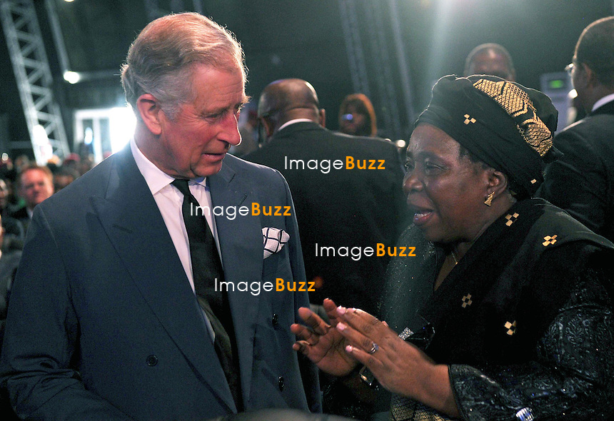 Qunu, South Africa: 15.12.2013: STATE FUNERAL FOR NELSON MANDELA<br /> PRINCE CHARLES<br /> chats to  African Union Commission Chair Nkosazana Dlamini-Zuma at former President Nelson Mandela State Funeral held in Qunu,Eastern Cape, South Africa