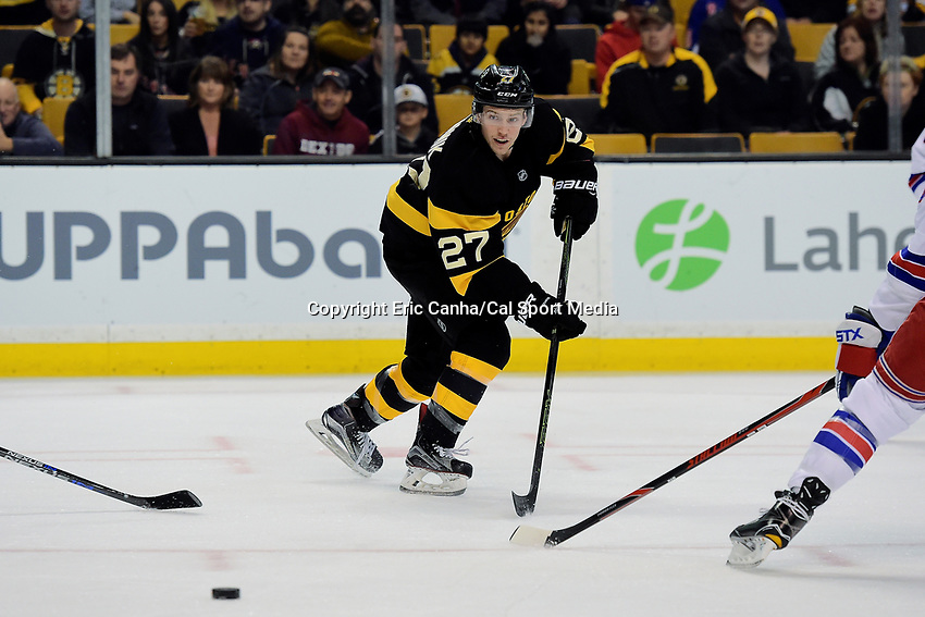 Saturday, November 5, 2016: Boston Bruins center Austin Czarnik (27) in game action during the National Hockey League game between the New York Rangers and the Boston Bruins held at TD Garden, in Boston, Mass. Eric Canha/CSM
