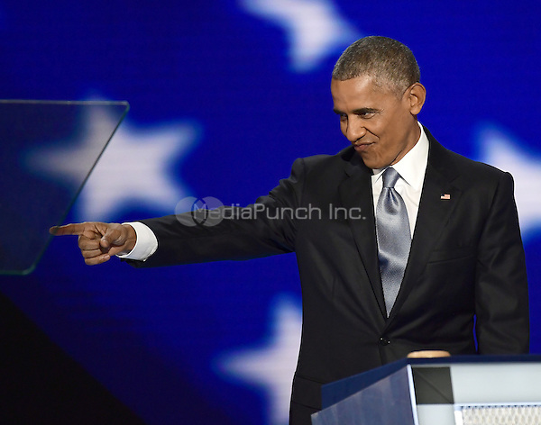 United States President Barack Obama makes remarks during the third session of the 2016 Democratic National Convention at the Wells Fargo Center in Philadelphia, Pennsylvania on Wednesday, July 27, 2016.<br /> Credit: Ron Sachs / CNP/MediaPunch<br /> (RESTRICTION: NO New York or New Jersey Newspapers or newspapers within a 75 mile radius of New York City)
