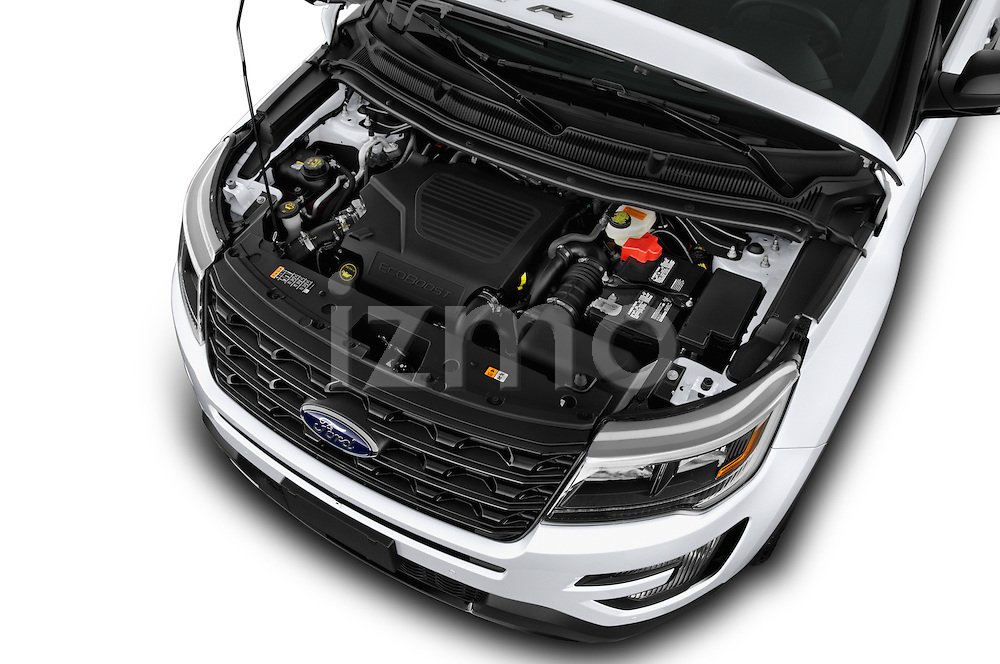 Car Stock 2017 Ford Explorer Sport 5 Door Suv Engine  high angle detail view