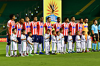 PALMIRA - COLOMBIA, 02-09-2018: Jugadores de Junior posan para una foto durante los actos protocolarios previo al partido entre el Deportivo Cali y Atlético Junior por la fecha 7 de la Liga Águila II 2017 jugado en el estadio Palmaseca de Cali. / Players of Junior pose to a photo during the formal events prior the match between Deportivo Cali and Atletico Junior for the date 7 of the Aguila League II 2017 played at Palmaseca stadium in Cali.  Photo: VizzorImage/ Nelson Rios / Cont