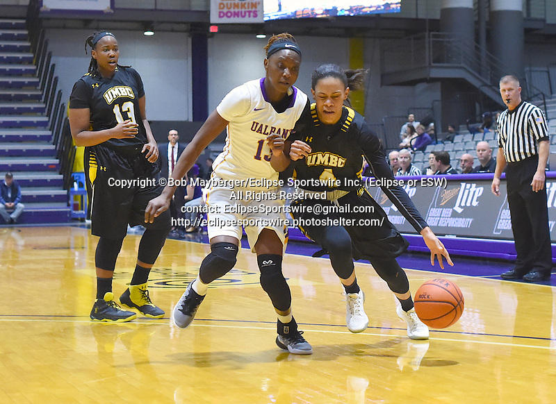 UMBC defeats Albany 64-56 in an America East Conference game on January 16, 2017 at SEFCU Arena in Albany, New York.  (Bob Mayberger/Eclipse Sportswire)