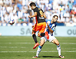 CD Leganes' Victor Diaz (r) and Valencia CF's Munir El Haddadi during La Liga match. September 25,2016. (ALTERPHOTOS/Acero)