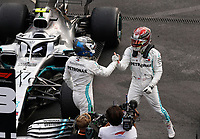 27th October 2019, Autodromo HermanRodriguez, Mexico City, Mexico; F1 Grand Prix of Mexico, Race Day; Winner Lewis Hamilton GBR, Mercedes AMG Petronas Motorsport celebrates in parc ferme with team mate 77 Valtteri Bottas FIN, Mercedes AMG Petronas