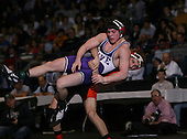 Josh Micek (VI) and Mike Nevinger (V) square off in the NY State Division Two finals at the 140 weight class during the NY State Wrestling Championship finals at Blue Cross Arena on March 9, 2009 in Rochester, New York.  (Copyright Mike Janes Photography)
