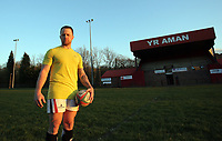 FAO STEWART HUNTER, DAILY MAIL SPORTS PICTURE DESK<br /> Pictured: Dean Williams, the brother of Shane Williams, after training at Amman United RFC in Cwmamman, Wales, UK. Thursday 13 April 2017<br /> Re: Former Wales international rugby player Shane Williams is to make another comeback as part of the Amman United team that contests a final at the Principality Stadium in Cardiff on Saturday.<br /> 40 year old Williams, Wales' record try scorer has been named in his local village side that will take on Caerphilly in the National Bowl final, having recovered from a fractured jaw in the semi-final win against Cardigan after almost five years since Williams last played for the Barbarians against Wales.<br /> He retired from the Test scene after a defeat to Australia in 2011, immediately after Wales had reached the semi-final of the World Cup of that year.