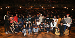 "Carvens Lissaint with High School student performers during the Q & A before The Rockefeller Foundation and The Gilder Lehrman Institute of American History sponsored High School student #eduHAM matinee performance of ""Hamilton"" at the Richard Rodgers Theatre on June 5, 2019 in New York City."