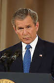 United States President George W. Bush holds a formal press conference in the East Room of the White House in Washington, DC on March 6, 2003<br /> Credit: Ron Sachs / CNP