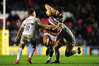 Freddie Burns of Leicester Tigers takes on the Exeter Chiefs defence. Aviva Premiership match, between Leicester Tigers and Exeter Chiefs on March 3, 2017 at Welford Road in Leicester, England. Photo by: Patrick Khachfe / JMP