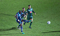 Adebayo Akinfenwa of Wycombe Wanderers hits a shot at goal during the Sky Bet League 2 match between Wycombe Wanderers and Plymouth Argyle at Adams Park, High Wycombe, England on 14 March 2017. Photo by Andy Rowland / PRiME Media Images.