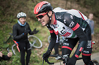 Oliviero Troia (ITA/UAE-Emirates) on domestique-duty, sweating his way up the (new) Côte de la Ferme Libert<br /> <br /> 103rd Liège-Bastogne-Liège 2017 (1.UWT)<br /> One Day Race: Liège › Ans (258km)