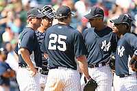 March 17th 2008:  Dave Eiland, Jorge Posada, Jason Giambi, Derek Jeter and Robinson Cano of the New York Yankees during a Spring Training game at Legends Field in Tampa, FL.  Photo by:  Mike Janes/Four Seam Images