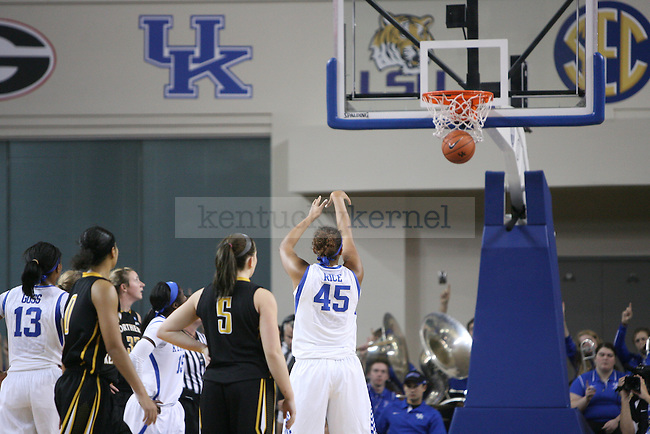 UK center Alyssa Rice (45) sinks a free throw at the University of Kentucky versus Northern Kentucky University women's basketball game at Memorial Coliseum in Lexington, Ky., on Wednesday, December 3, 2014. Photo by Cameron Sadler | Staff
