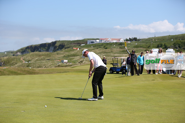 Neck and neck at all square between Bradley Neil (Blairgowrie) and Connor Syme (Dumfries & County) on the early holes during the Semi-Finals at The Amateur Championship 2014 from Royal Portrush Golf Club, Portrush, Northern Ireland. Picture:  David Lloyd / www.golffile.ie