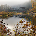 Idaho, North, Benewah County, St. Maries. An old railroad bridge, on the Milwaukee-St. Paul Linecrosses the St. Joe river on a foggy autumn morning.