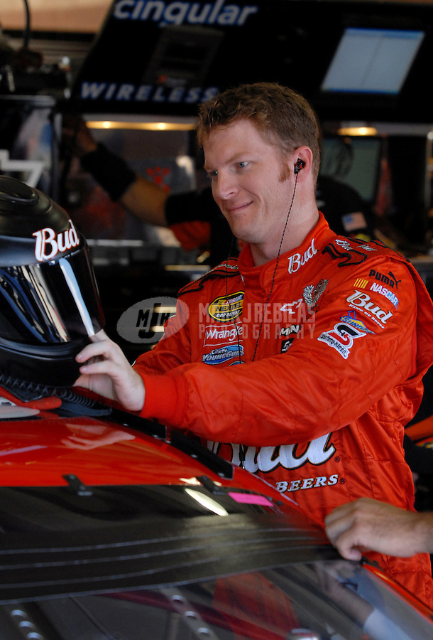 Sept. 2, 2006; Fontana, CA, USA; Nascar Nextel Cup driver Dale Earnhardt Jr (8) during practice for the Sony HD 500 at California Speedway. Mandatory Credit: Mark J. Rebilas