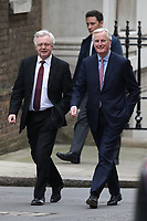 David Davis and Michel Barnier in Downing Street for Brexit talks.  London, England on February 05. 2018<br /> CAP/GOL<br /> &copy;GOL/Capital Pictures