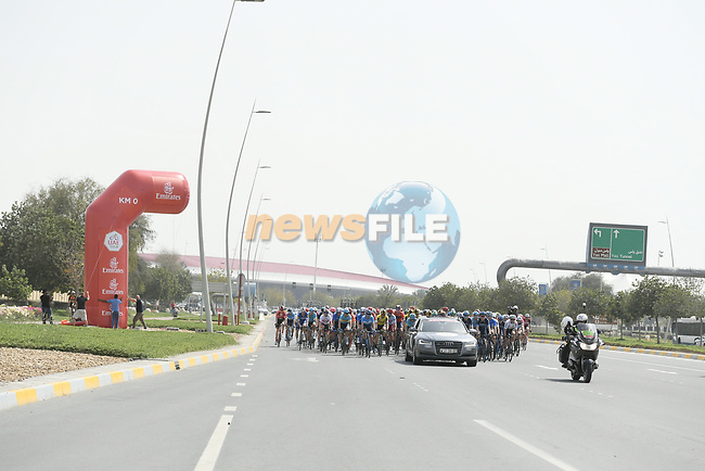 Km0 the start of Stage 2 of the 2019 UAE Tour, running 184km form Yas Island Yas Mall to Abu Dhabi Breakwater Big Flag, Abu Dhabi, United Arab Emirates. 25th February 2019.<br /> Picture: LaPresse/Fabio Ferrari | Cyclefile<br /> <br /> <br /> All photos usage must carry mandatory copyright credit (© Cyclefile | LaPresse/Fabio Ferrari)
