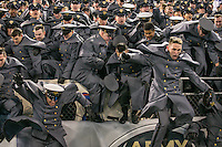 Baltimore, MD - December 10, 2016: The Army Cadets rush the field after the game between Army and Navy at  M&T Bank Stadium in Baltimore, MD.   (Photo by Elliott Brown/Media Images International)