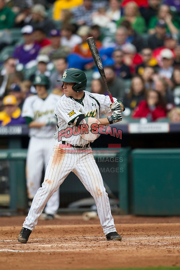 Baylor Bears outfielder Adam Toth (15) at bat during the NCAA baseball game against the LSU Tigers on March 7, 2015 in the Houston College Classic at Minute Maid Park in Houston, Texas. LSU defeated Baylor 2-0. (Andrew Woolley/Four Seam Images)