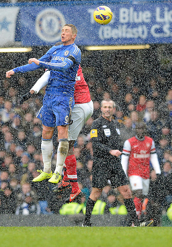 20.01.2013 London, England.  Fernando Torres of Chelsea wins a header during the Premier League game between Chelsea and Arsenal at Stamford Bridge.
