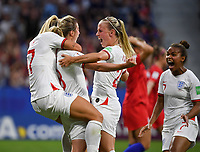 20190702 - LYON , FRANCE : English players with Rachel Daly (left) and Beth Mead (r) pictured celebrating the 1-1 equalizer from Ellen White (middle)  during the female soccer game between England  - the Lionesses - and The United States of America  – USA - , a knock out game in the semi finals of the FIFA Women's  World Championship in France 2019, Tuesday 2 nd July 2019 at the Stade de Lyon  Stadium in Lyon  , France .  PHOTO SPORTPIX.BE | DAVID CATRY