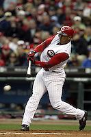 03 April 2006: Cincinnati Red's Felipe Lopez bats against the Chicago Cubs during the Reds' home opener at Great American Ballpark in Cincinnati, Ohio.<br />