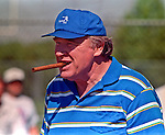 San Francisco 49ers training camp August 4, 1988 at Sierra College, Rocklin, California. Former Raiders head coach John Madden.