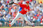 9 March 2012: Philadelphia Phillies pitcher Jeremy Horst on the mound during a Spring Training game against the Detroit Tigers at Joker Marchant Stadium in Lakeland, Florida. The Phillies defeated the Tigers 7-5 in Grapefruit League action. Mandatory Credit: Ed Wolfstein Photo