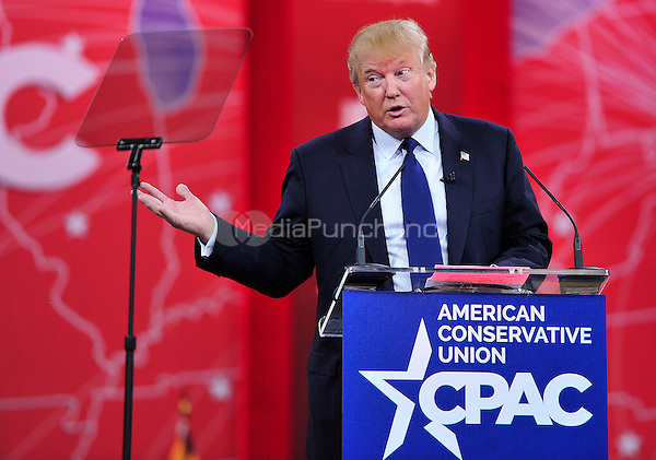 Donald Trump speaks at the Conservative Political Action Conference (CPAC) at the Gaylord National at National Harbor, Maryland on Friday, February 27, 2015.<br /> Credit: Ron Sachs / CNP/MediaPunch