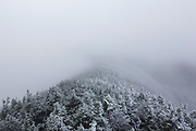 Franconia Notch State Park - The summit of Cannon Mountain covered in rime ice in the White Mountains, New Hampshire during the autumn months.