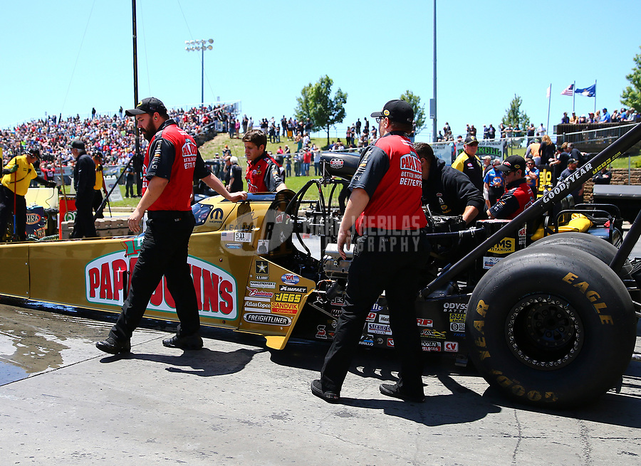 May 21, 2017; Topeka, KS, USA; Crew members for NHRA top fuel driver Leah Pritchett during the Heartland Nationals at Heartland Park Topeka. Mandatory Credit: Mark J. Rebilas-USA TODAY Sports
