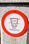 Tafel, Symbol, Kein Trinkwasser, No Drinking Water, beim Kloster St. Elisabeth, Schaan, Liechtenstein