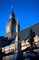 Big Ben in london with a blue sky behind