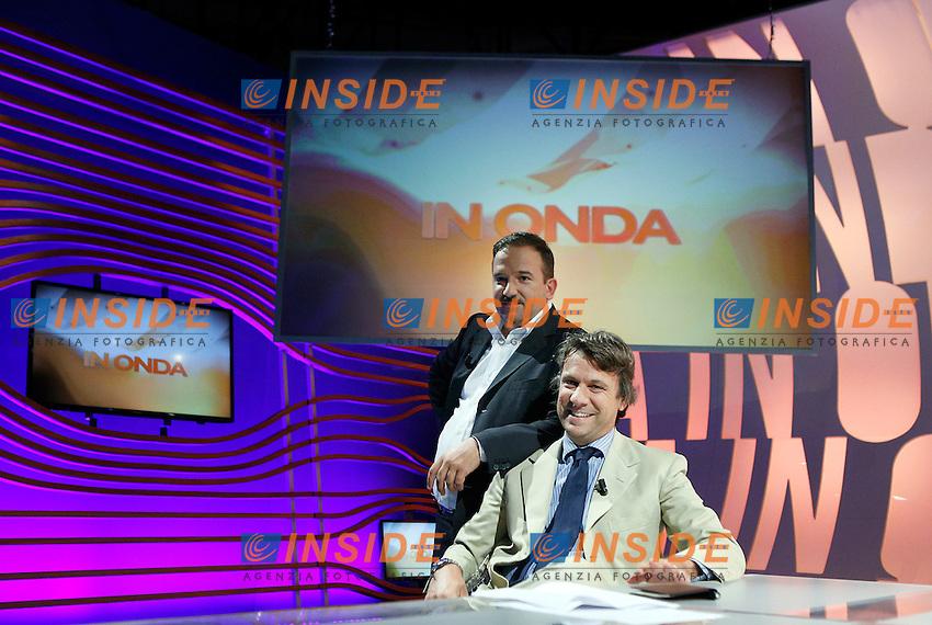 Luca Telese e Nicola Porro.Nicola Porro.Roma 23/09/2012 LA7 - Franco Fiorito ospite della trasmissione In Onda.Foto Serena Cremaschi Insidefoto