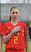 20180314 - TUBIZE , BELGIUM : Belgian Jill Janssens pictured during the friendly female soccer match between Women under 15 teams of  Belgium and Gemany , in Tubize , Belgium . Wednesday 14 th March 2018 . PHOTO SPORTPIX.BE / DIRK VUYLSTEKE