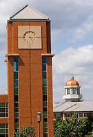 The clock tower of the Barnhardt Student Activity Center on the campus of the University of North Carolina Charlotte.