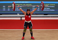 BARRANQUILLA - COLOMBIA, 22-07-2018:Competidora Nancy Ludrick de Nicaragua,  levantamiento de pesas femenino , Modalidad Arranque .Juegos Centroamericanos y del Caribe Barranquilla 2018. / Competitor Nancy Ludrick of Nicaragua, female weightlifting, Start-up Modality of the Central American and Caribbean Sports Games Barranquilla 2018. Photo: VizzorImage /  Contribuidor