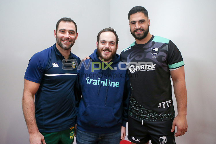 Picture by Alex Whitehead/SWpix.com - 20/11/2016 - Rugby League - Ladbrokes Four Nations Final - Australia v New Zealand - Anfield, Liverpool, England - Trainline coin toss with Australia captain Cameron Smith and New Zealand captain Jesse Bromwich.