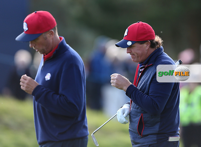 Phil Mickelson (USA) takes the applause during the 2014 Ryder Cup from Gleneagles, Perthshire, Scotland. Picture:  David Lloyd / www.golffile.ie
