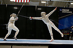 25 MAR 2016:  Harvard's Adrienne Jarocki battles Princeton's Gracie Stone during the finals of the women's saber event at the Division I Women's Fencing Championship held at the Gosman Sports and Convention Center in Waltham, MA.   Damian Strohmeyer/NCAA Photos
